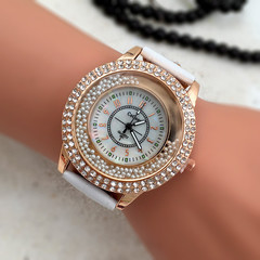 Fashion Quicksand Drill Shell Face Belt Watch Women Double Layer t Drill Point Drill Fashion Watch white