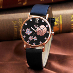 CMK Rose Gold Shell UP Butterfly Belt Watch Lady  Light Leather Watch Belt Lady Watches black