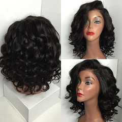 New Style Wigs Lady Short Curly Comfortable  Wig Black Brown Red Wine Curly Hair Wigs For Women black as picture
