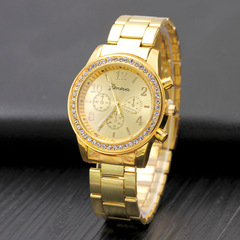 Men And Women Geneva Three-eye Diamond Alloy Watch Steel Band Casual Jewelry Watch gold