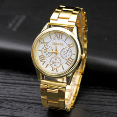 Steel Band Watch Men And Women Fashion Gifts Watches Quartz Watches For Lover gold band white dial