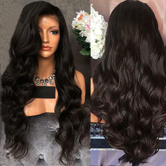 Heat Resistance Big Wave Long Curly Wig Fluffy Black Long Hair Ladies African Wigs For Women black 26inch