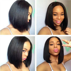 Fashion Women Hair Synthetic High Temperature Silk Wigs Short BOB Straight Wigs For Black black as picture