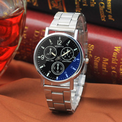 Business Three-eye Steel Band Watch Men Blue Light Watch Quartz Watch For Lover Gift black