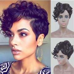 African Men And Women Short Curly Hair Black Small Curl Wigs Wave Wigs Ladies black as picture