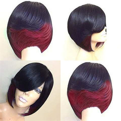 2019 Hot Selling Wig African Women Fashion Realistic Natural Short Straight Hair Wigs For Women black with red as picture