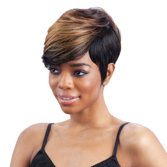 New European and American Fashion Women Short Curly Hair Black Wigs With Slanted Bangs Wigs black with gold 26cm