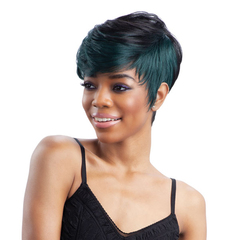New European and American Fashion Women Short Curly Hair Black Wigs With Slanted Bangs Wigs black with green 26cm