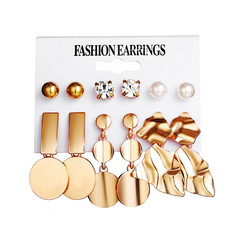 6 Pieces Set New Type Earrings Gold Creative Metal  Element Irregular Geometry Women Earrings B08-01-42 as picture