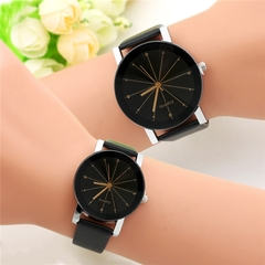 Watch Leather Fashion Glass And Belt Meteor Watches For Men And Women Gift black (1 male and 1 female)