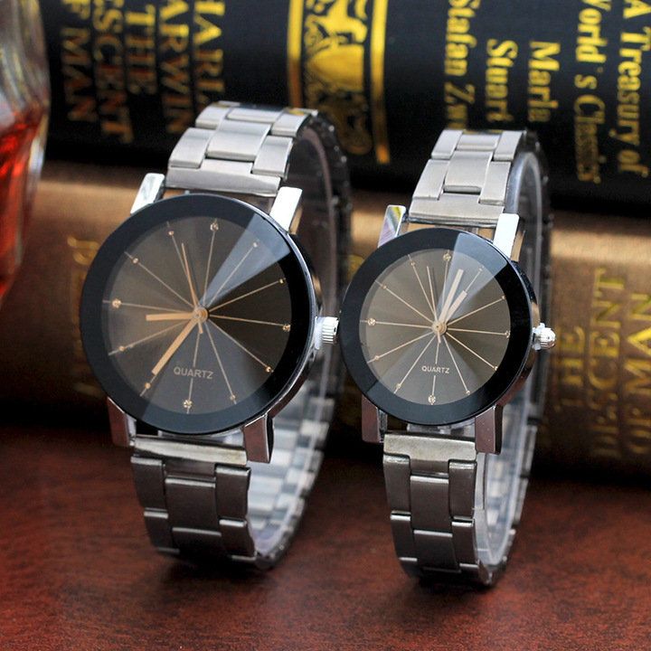 Men And Women Ray Steel Band Lovers Watch Alloy watch Tan glass Fireworks Quartz Watch black for couple(1 male and 1 female)