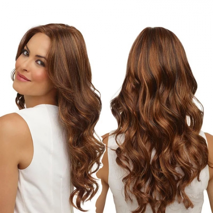 Fast Dispatch Body Wave Wigs Long Black Curly Middle Side Bangs Hair Wigs For Women dark brown as picture