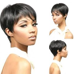 African Women Wigs Short Pixie Bob Wigs Black Short Straight Wigs For Ladies black one size