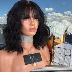 Promotional Fashion Wig Lady Hair Bangs Black Brown Short Curly Hair Big Wave Wigs For Women black one size