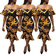 Lady clothing digital printing ruffled dress evening dress fashion color yellow and black S
