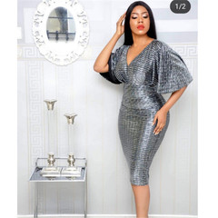 New hot deep V party sexy dress short dress lady clothes big size pary working clothes grey m
