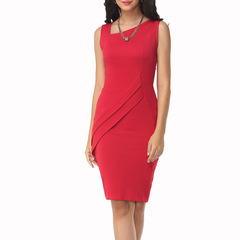 Temperament female lead pencil dress offce party dress sleeveless clothing red m
