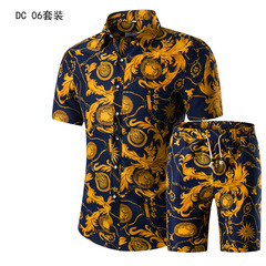 2019 Summer Fashion Printing Men Shirts +Shorts Set Casual Men Clothing Sets Plus Size DC01 M