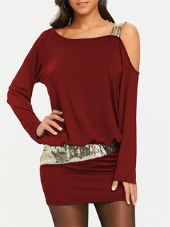2019 clothing sexy pure color long sleeve women dress inclined shoulder sequined strapless dress wine red s