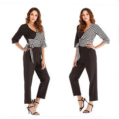 Stitching asymmetric stripe jumpsuits office clothes cause women tops and trousers one suit mix color L