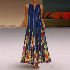 Women long dress flare style print clothing v-neck sleeveless summer dress green s