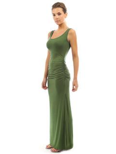 Sumer dress Collar trim Folded hip skirt sleeveless swing split  dress green s