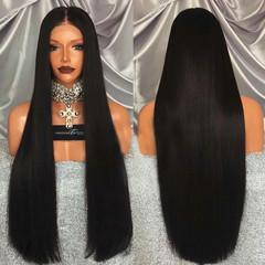 Exterior African lady straight hair 100 cm female wig set black long