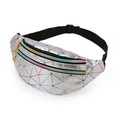 2019 men and women chest bag PU leather pattern handbag slanted colorful waterproof shoulder bag Splicing silver One size