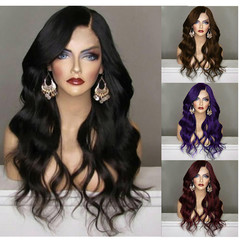 Wig women wavy hair long style with rose wig cap new fashion for lady black 65cm