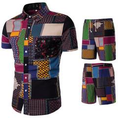 Men's short sleeve shirt + trousers printed suit male new clothes summer set TZ01 m