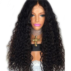 Women wig long hair black curly hair Synthetic wigs with ajust rose inside net black 60cm