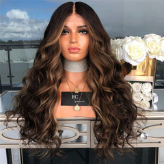 Long wig COS of big wave wig mixed brown hair hot sale fashion style High Temperature Fiber material as picture long