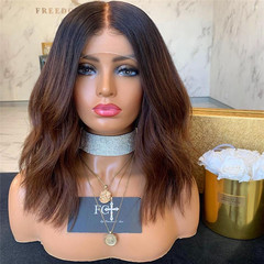 Wig with high quality rose net fashion women wig black gradient brown hair dyeing color hair as picture 35cm