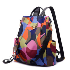 Printing backpack women travel bag anti theft causal fashion backpack Oxford bagpack contrast color one size