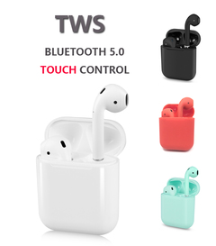 I12 TWS wireless bluetooth 5.0 portable stereo earphone with charging box mini auto pairing  headset black