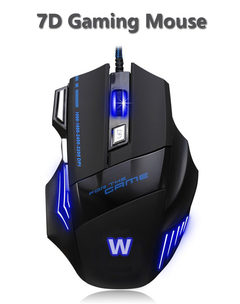 USB wired computer gaming mouse 7D 3 gears speed mice LED breath light optical mouse black one size