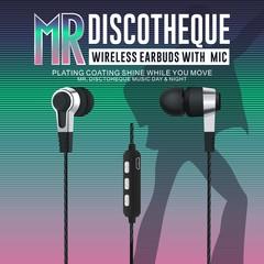 Bluetooth 5.0 wireless earphone stereo copper rings speaker headset bass earphone black