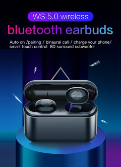 TWS wireless bluetooth 5.0 earbuds stereo earphone with 2600mah charging box auto pairing  headset black