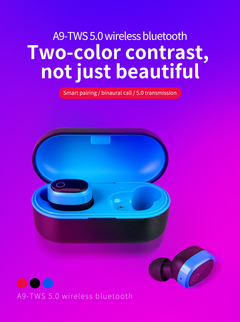 TWS wireless bluetooth 5.0 portable earbuds stereo earphone with charging box auto pairing  headset black