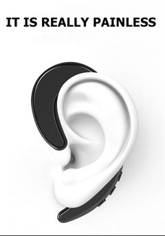 Ear-hook Bone Conduction Headset Wireless Bluetooth Earphone Stereo Headphone No earplug with Mic white