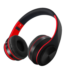 Wireless Headset  Bluetooth 5.0 Headphone Adjustable  on-ear Earphones Stereo Bass earbuds With Mic red