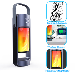 Outdoor LED Flame Bluetooth Speaker Wireless charger TWS Lamp Stereo Camping Light Speakers Black built-in battery Bluetooth