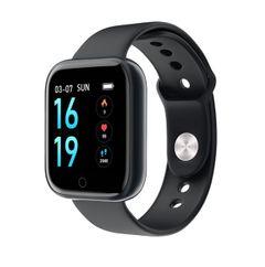 Smart Watch T80 Bracelet Heart Rate Blood Pressure Meter Step Monitoring Waterproof Health Sports black silica gel