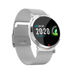 Smart watch Waterproof Heart Rate Sleep Monitor Blood Pressure Women men Clock Smartwatch Wristband silver steel band
