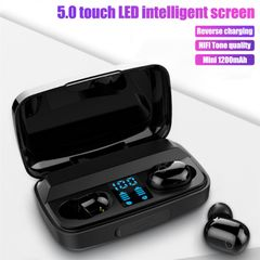 TWS Wireless Bluetooth 5.0 Earphone Mini Earbuds HD Call Stereo With Mic 1200mAh Charging Box black