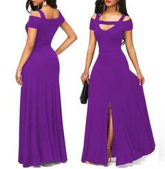 Plus Size Sexy Women V Neck Off Shoulder Long Dress Solid Evening Party Dresses Maxi Dress purple s
