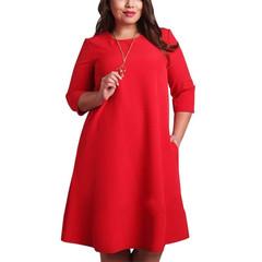 L-6XL Big Size Dresses Office Ladies Plus Size Casual Loose Dress Pocket Fashion Dress Women Clothes Red l