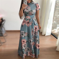 Lady high collar short-sleeved dress women flower print  lace dress 01 s