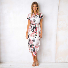 Summer  Women Fashion Print Dress Elegant Cute Sashes  Slim Sheath Dress 01 s