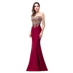 Lady embroidered party dress  sexy backless perspective slim fishtail  dress 01 s
